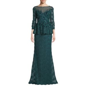 RF for Teri Jon, Velvet Flower & Lace Peplum Gown